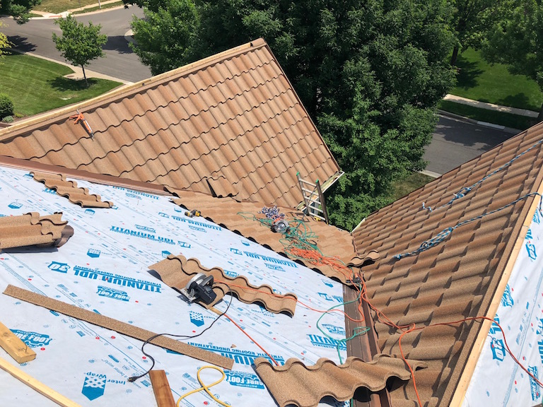 Christian Brothers Tile Roof construction project from the roof